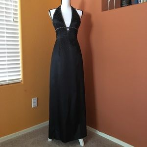 Black Satin Beaded Halter Gown W/Back Lacing &Slit